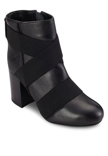 Logan 交叉zalora taiwan 時尚購物網帶高跟短靴, 女鞋, 鞋