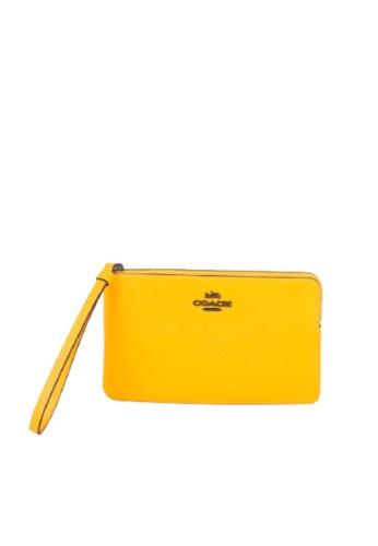 COACH yellow Coach Large Corner Zip 3888 Wristlet In Ochre E4313ACEC33147GS_1
