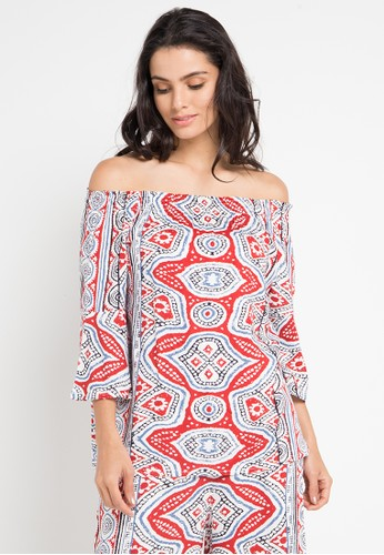 island story red Geometric Tribal Print Slit Sleeve Off Shoulder Top 3FFF0AA66F9972GS_1