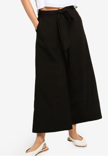 ZALORA BASICS black Basic Tie Front Culottes 2DC3BAA685A941GS_1