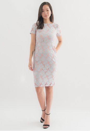 Love Knot pink Emerald Lace Sheath Dress (Pink) 4F5A6AACED5891GS_1