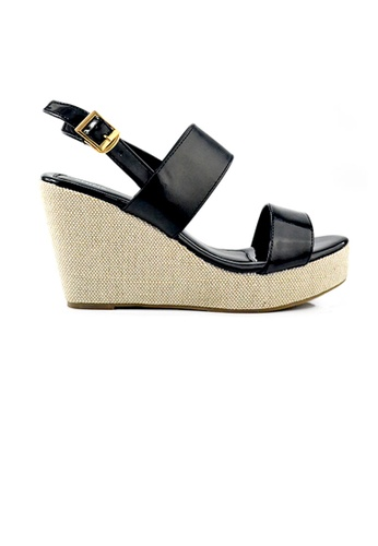 SHINE black Double Strap Mid Wedges A0EF0SHACFE5D4GS_1
