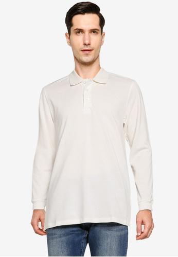 Electro Denim Lab white Cotton Long Sleeves Polo Shirt C6910AA27FAECAGS_1