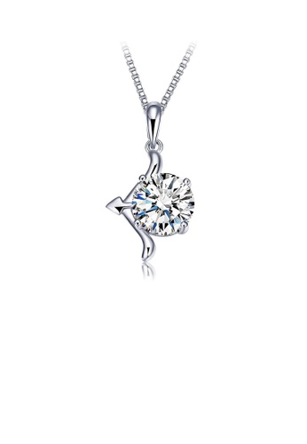 Glamorousky white 925 Sterling Silver Twelve Horoscope Sagittarius Pendant with Cubic Zircon and Necklace FA708ACB5CB1DBGS_1
