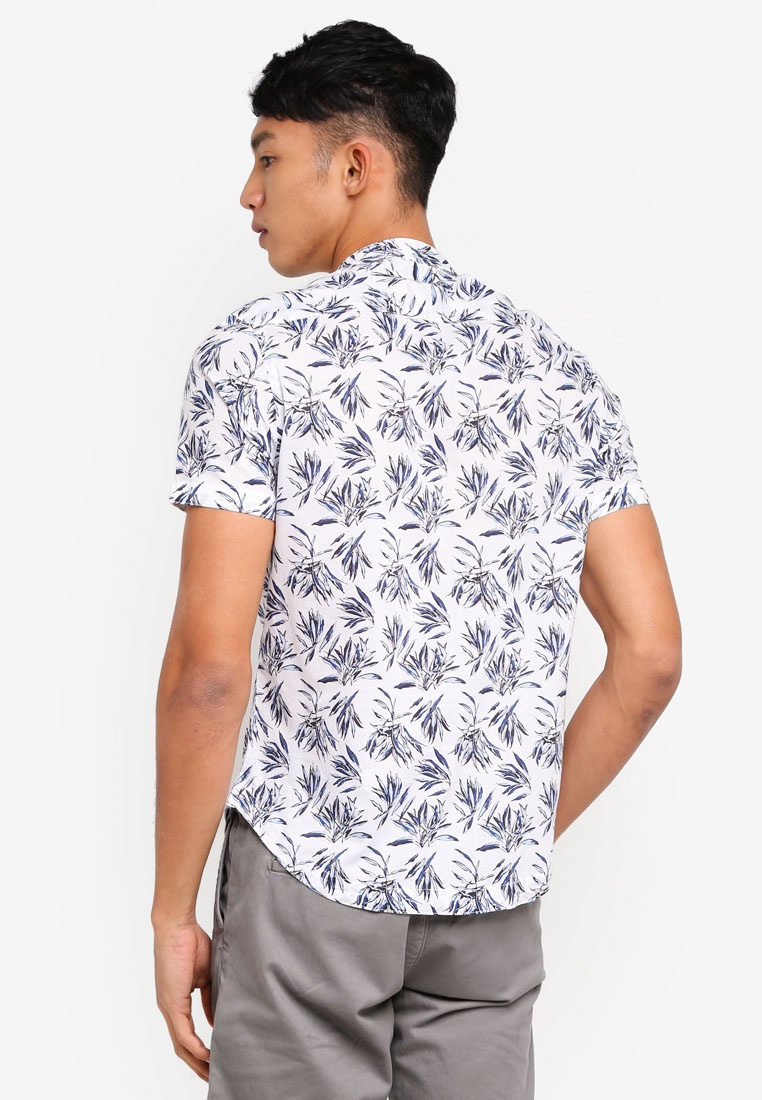 Off OVS Shirt White Light Sleeve Short Printed Blue qItHq