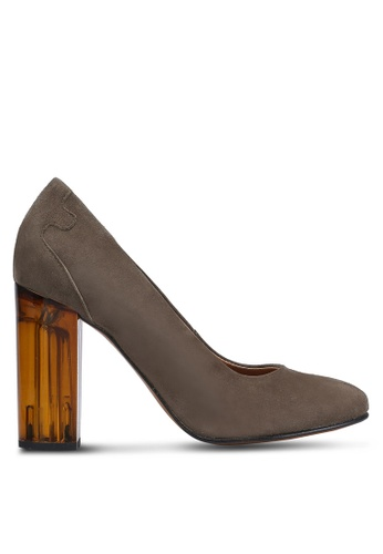 Selected Femme brown Mel Chunky Suede High Heels SE157SH0RMCCMY_1