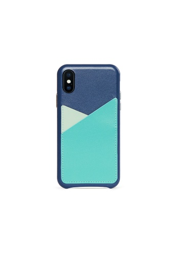 OBX blue Seafoam iPhone X/Xs Patchwork Leather Snap-On case 8C88EACA03DD72GS_1