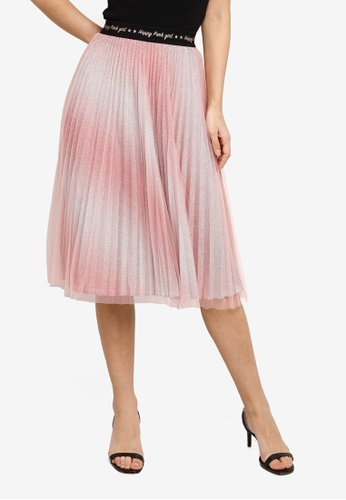 Hopeshow pink Pleated Midi Skirt with Mesh 83FB0AAEE82F34GS_1