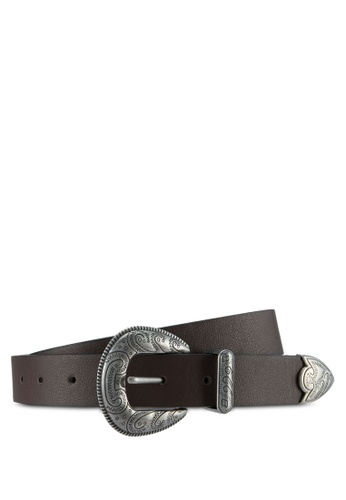 Topman brown Chocolate Brown Western Style Belt TO413AC0T1IYMY_1