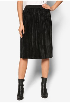 【ZALORA】 Premium 金屬感細褶及膝短裙
