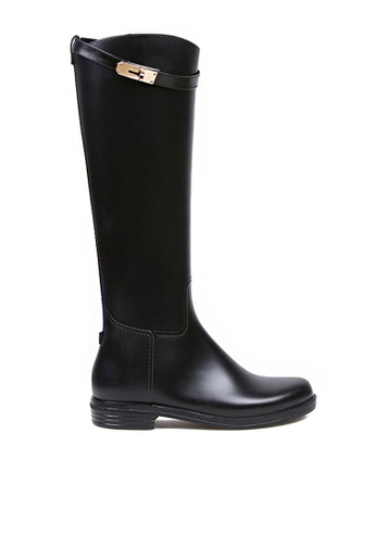 Twenty Eight Shoes 黑色 長馬丁雨靴882-4 TW446SH77GLUHK_1