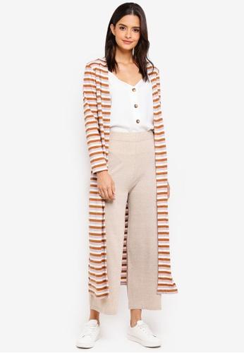 Zalia brown and pink Metallic Rib Stripes Cardigan E9B85AA31AD09DGS_1