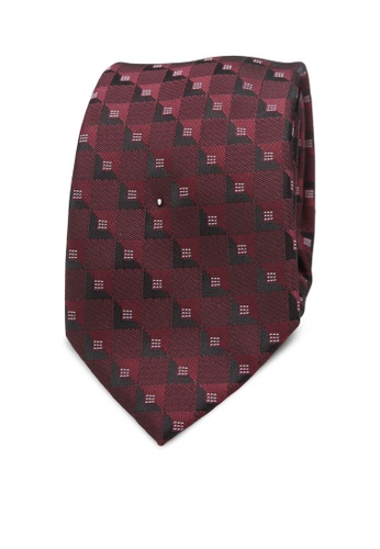 Burton Menswear London red Burgundy Geometric Tie And Pocket Square Set BU964AC0SD1XMY_1