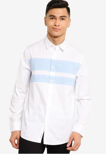 Calvin Klein white Ad-Color Block Slim Shirt - Calvin Klein Jeans 0F3C2AAE1219B9GS_1