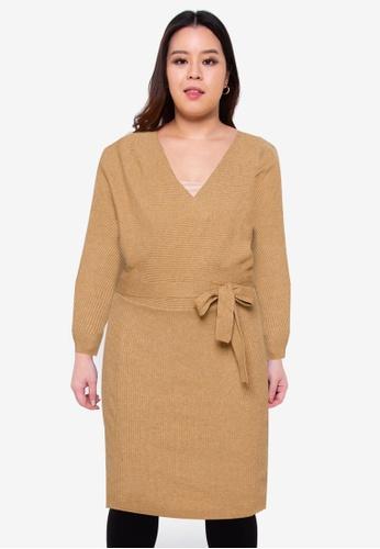 Vero Moda brown Curve Rem Long Sleeves V-Neck Dress F7C38AA960E9E7GS_1