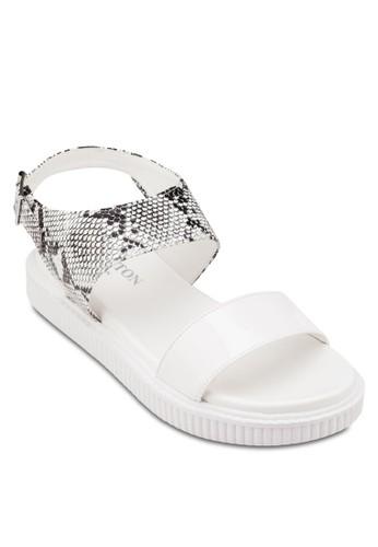 蛇紋踝帶平底涼鞋, esprit 台北女鞋, 鞋