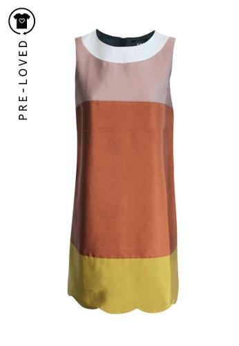 Paule Ka multi Pre-Loved paule ka Bronze Sleeveless Dress with Scallop Trim 1406EAAB5EECD1GS_1