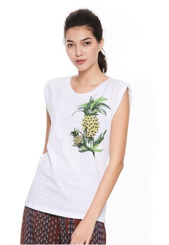 Sisley white Printed Sleeveless T-shirt CC542AAA894AE8GS_1