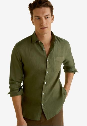 Mango Man 米褐色 Linen Regular Fit Shirt 55A30AA2131BB6GS_1