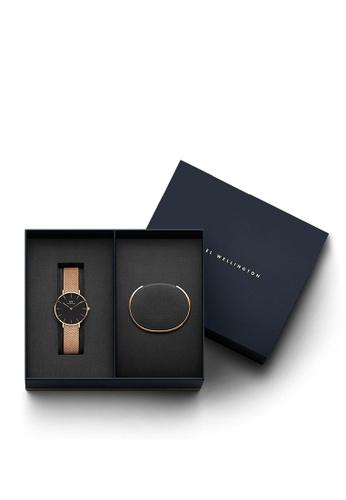 Daniel Wellington gold Combo Melrose 32mm Black Watch + Cuff CE952AC6E7D681GS_1