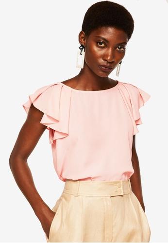 Mango pink Ruffled Sleeve Blouse 11AE9AA69C1DDAGS_1