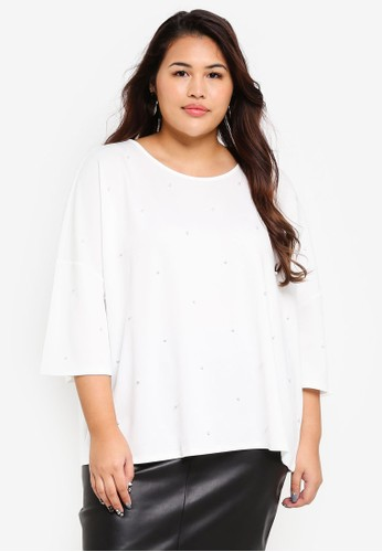 Only CARMAKOMA white Plus Size Pearl 3/4 Top CC0C1AACF78887GS_1