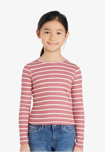 Gen Woo pink Striped Rib-knit Long sleeved T-shirt By Gen Woo 28F93KA27D15D7GS_1