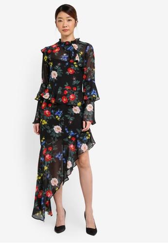 Miss Selfridge multi Floral Asymetric Frill Dress MI665AA0T08ZMY_1
