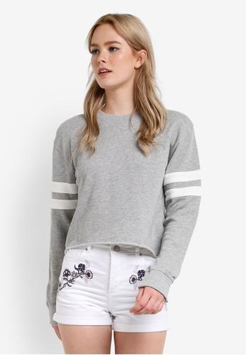 Miss Selfridge grey Grey Stripe Sleeve Sweatshirt MI665AA73DEWMY_1