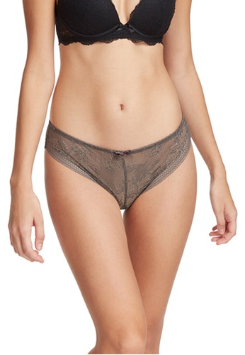 6IXTY8IGHT grey Doris Solid, All-over Lace No Show Low-rise Cheeky Panty PT09709 6DF79US831A305GS_1