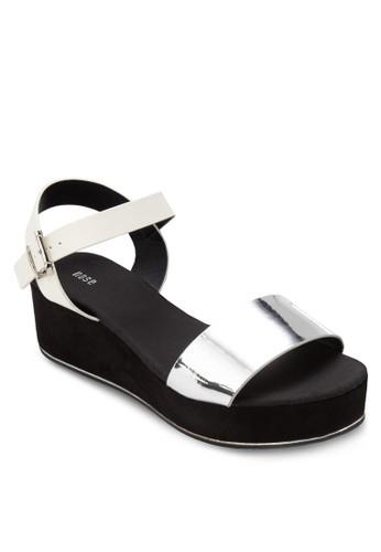 Chromeesprit台灣網頁 金屬感一字帶厚底涼鞋, 女鞋, 鞋