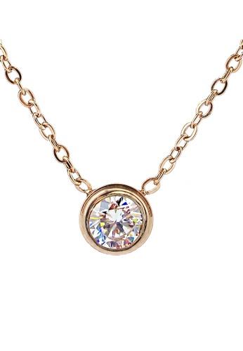 YOUNIQ gold YOUNIQ CZ 14K Plated Titanium Necklace (RoseGold) YO999AC35SFGMY_1