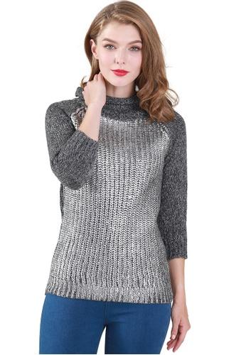 London Rag grey Scarlett Metallic Print Knit Sweater 843C3AA5230FDFGS_1