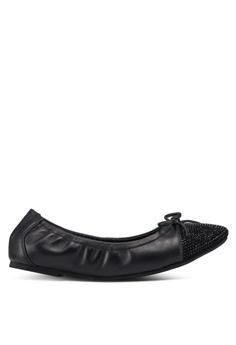 5a01f3d10 prettyFIT black Crystal Embellished Toe Cap Ballerinas E2528SHBCBC20EGS 1