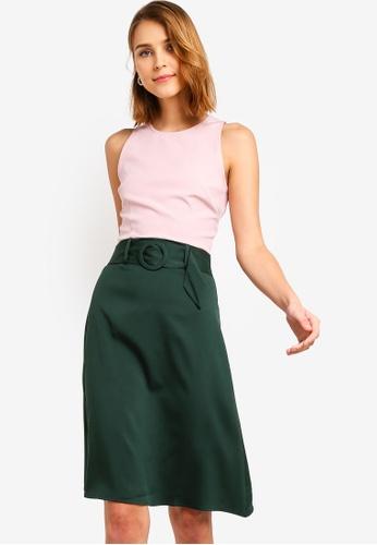 ZALORA 粉紅色 and 綠色 修身喇叭裙腰帶洋裝 239FBAA84A528AGS_1