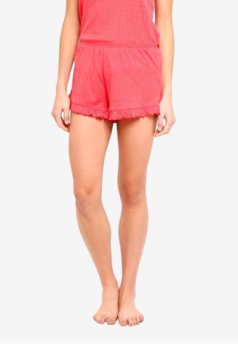 Cotton On Body red Rib Frill Shorts 185F8AAF5B6E4DGS_1