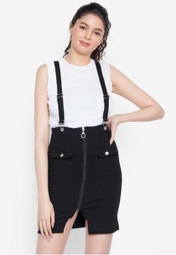 Ninety Nine Point Nine Boutiq black Network Pattern Suspender High Waist Skirt 1A48EAA53DF6CAGS_1
