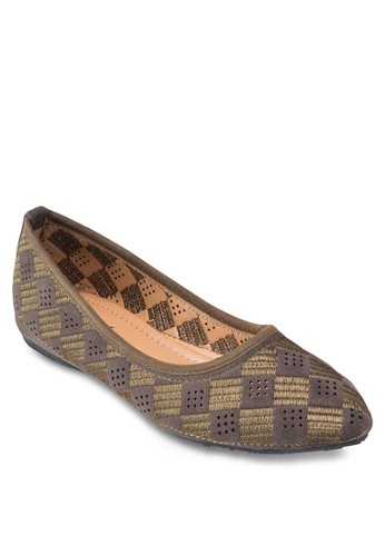 esprit 中文格紋尖頭平底鞋, 女鞋, 鞋