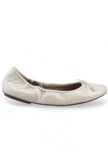 Shu Talk 金色 蝴蝶結綴飾羊軟皮圓頭芭蕾平底鞋 SH544SH099UITW_1