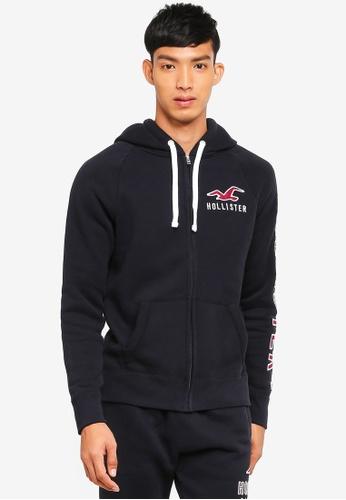 Hollister 黑色 Brand Graphic Zip Hoodie 4CF03AAB5D7D30GS_1