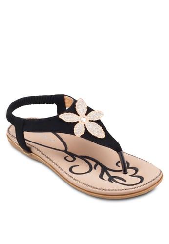 花飾彈性踝帶涼鞋, 女鞋esprit台北門市, 鞋