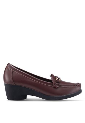 Noveni 褐色 金屬飾粗跟楔型鞋 C3C9DSHB55B0EBGS_1