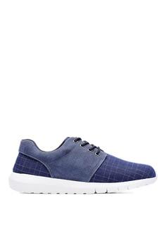 MIT。格紋織布。除臭鞋墊。異材質太空運動鞋-09492-黑色藍色