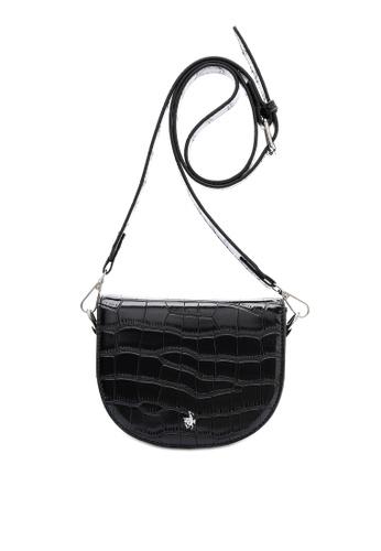 Swiss Polo black Classic Crocodile Texture Sling Bag 48AB9AC49B9865GS_1