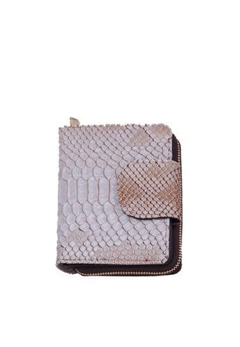 Twenty Eight Shoes beige VANSA Serpentine Pattern Embossed Cow Leather Bi-Fold Wallet VBW-Wt60303 1C5A0AC4328627GS_1