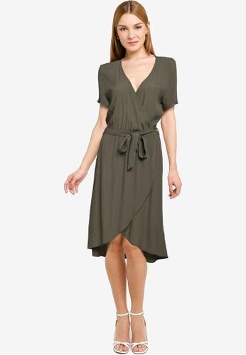 JACQUELINE DE YONG green Lea Short Sleeve Wrap Dress F225AAAF2F26E9GS_1