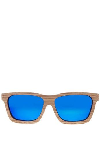 手工橡木經典款迷彩藍墨鏡, 飾品配件, 方esprit台北門市框