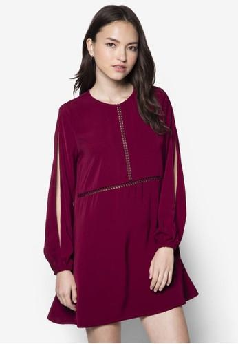 Love 開衩長袖連身裙, 服zalora鞋飾, 服飾