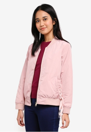 Penshoppe pink Bomber Jacket With Lace-Up 14F82AAF7E9417GS_1