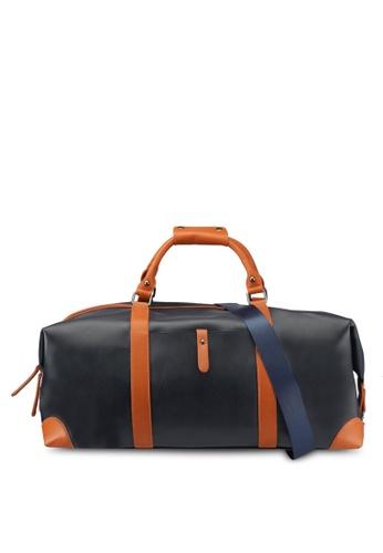 ZALORA navy Faux Leather Duffle Bag C68BAAC241D0B6GS_1